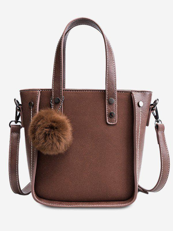Buy Fluffy Ball and Rivet Decoration Tote Bag