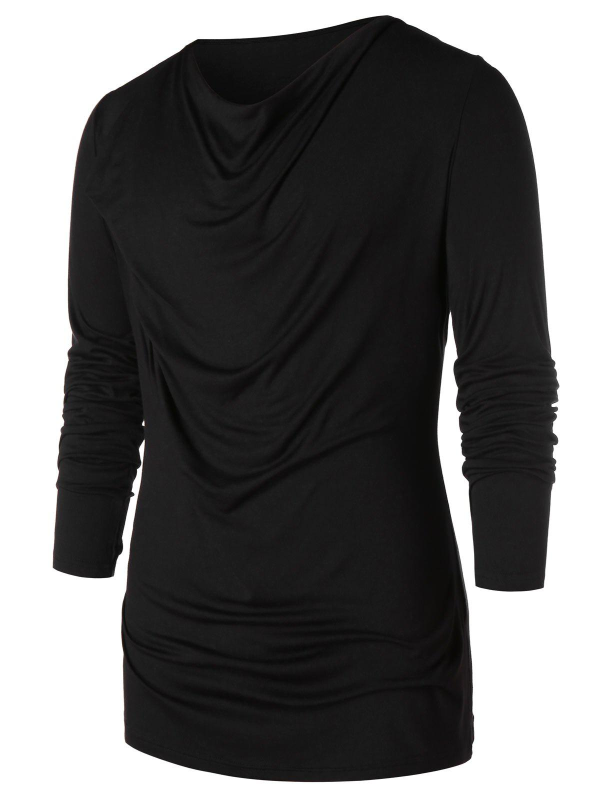 Hot Long Sleeve Pile Heap Collar T-shirt