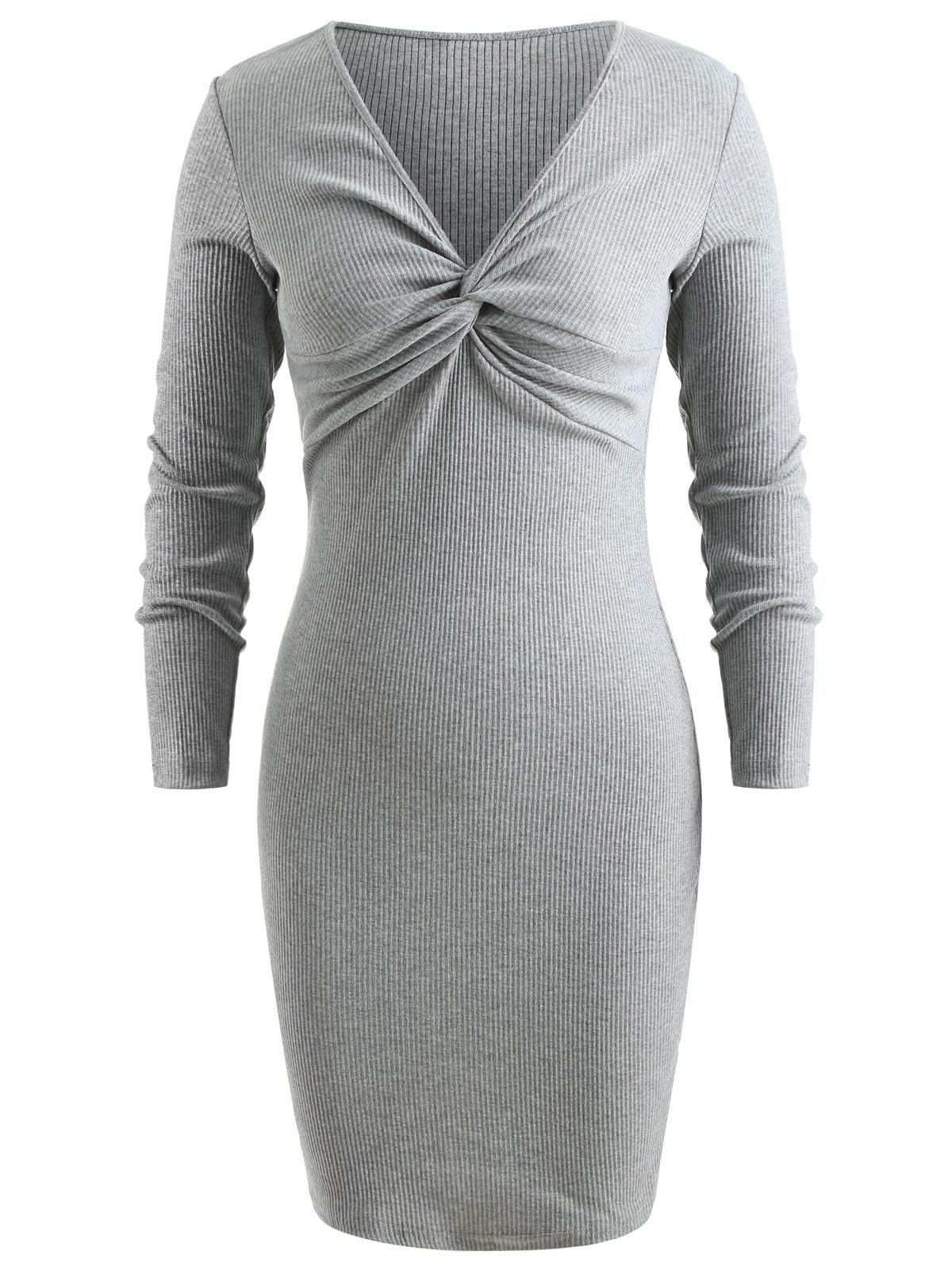 Affordable Front Knot Knitted Bodycon Dress