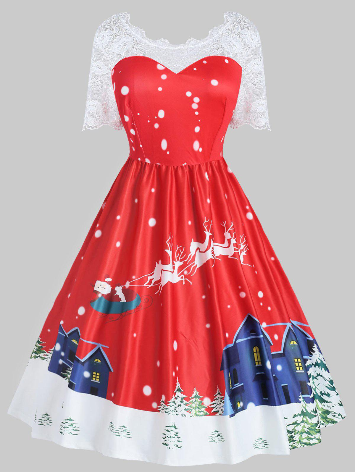 New Plus Size Vintage Christmas Flare Dress with Lace