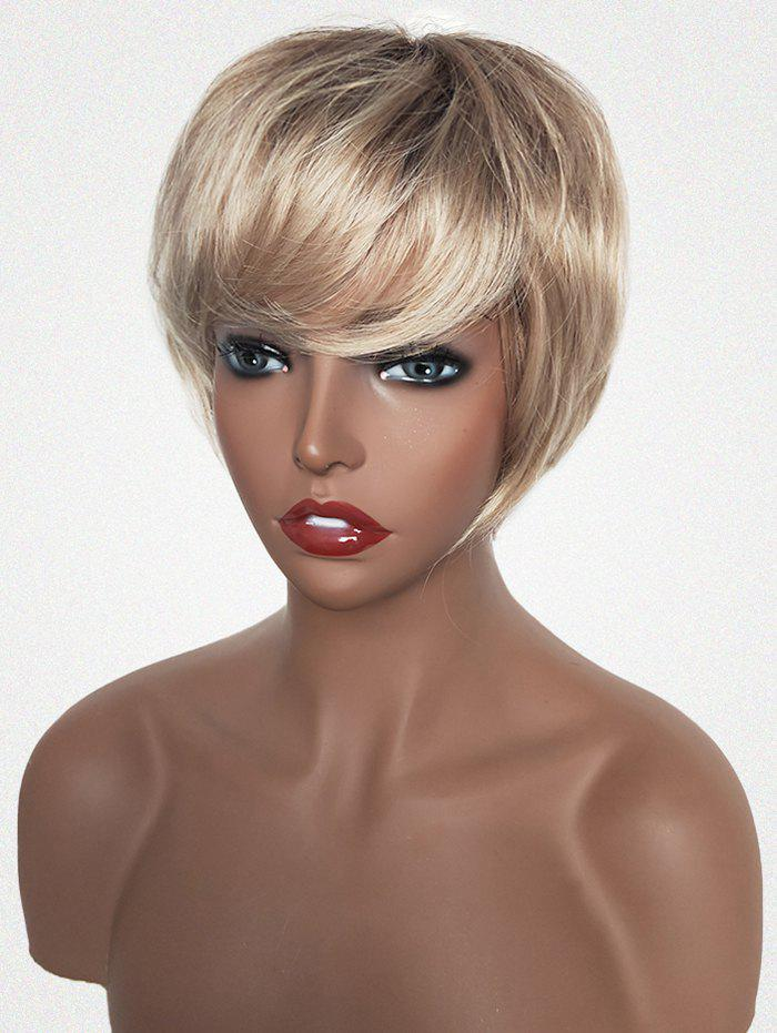 Latest Short Colormix Side Bang Straight Capless Human Hair Wig