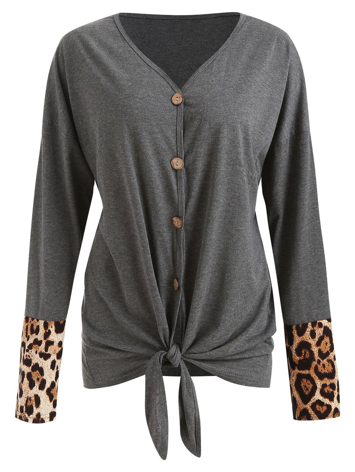 Latest Leopard Panel Knot Front Cardigan