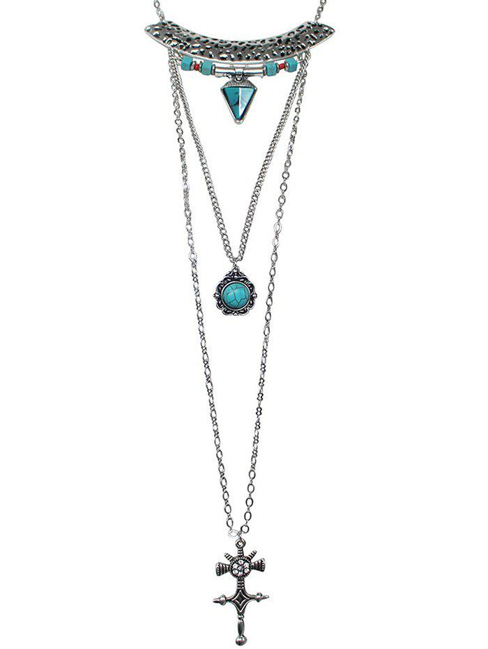 Shops Geometric Faux Turquoise Layered Necklace