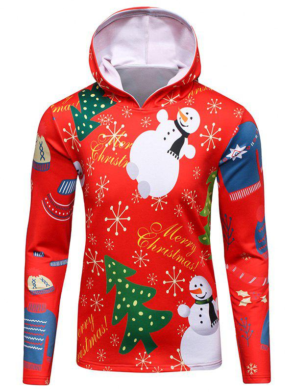 Outfits 3D Christmas Tree and Snowman Print Flocking Hoodie