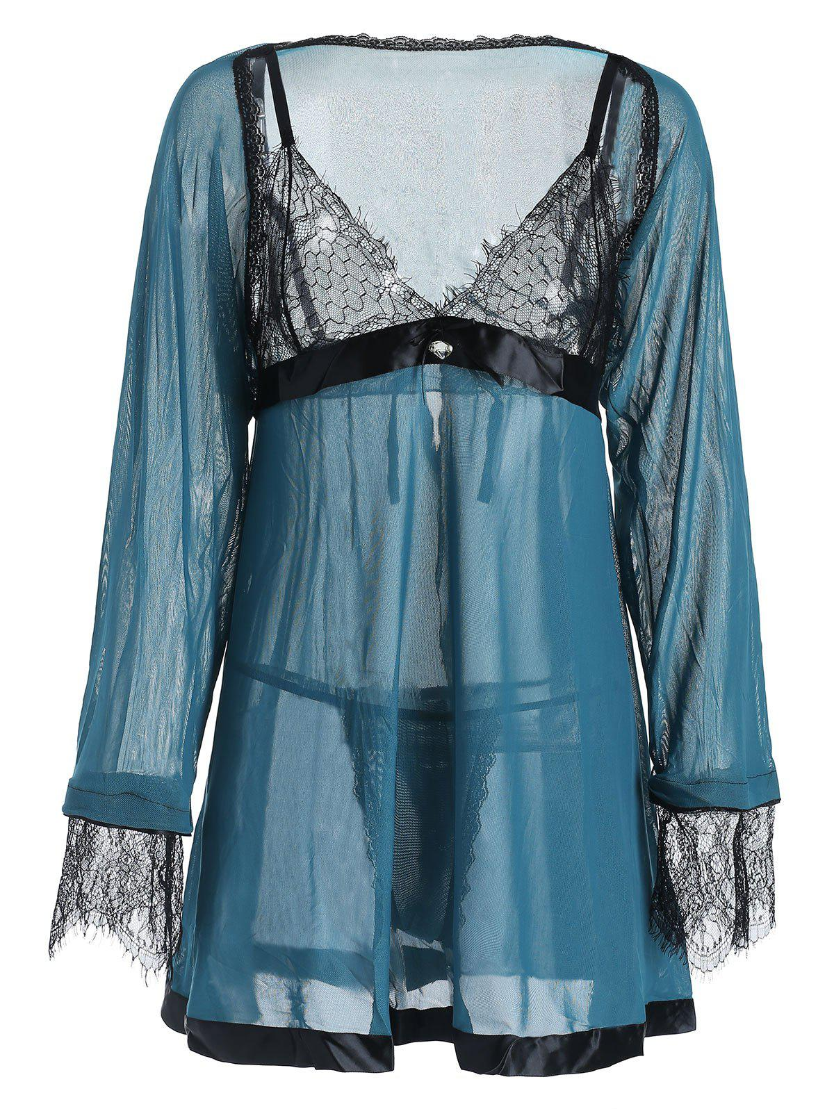 Trendy Plus Size Lace Panel Contrast Babydoll with Cape