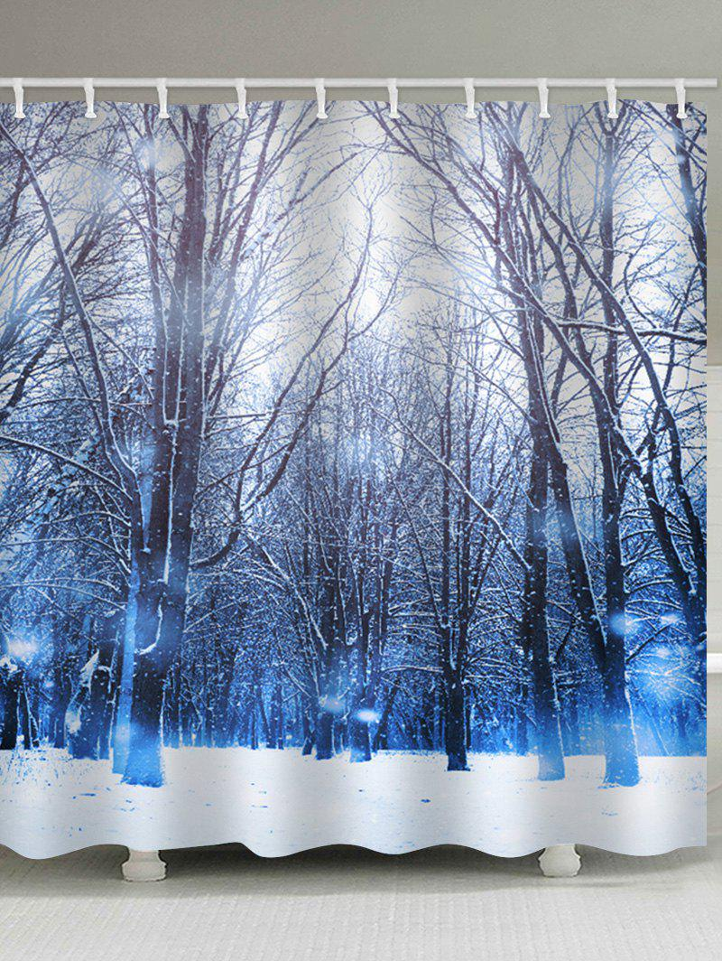 Online Christmas Snow Forest Pattern Waterproof Shower Curtain