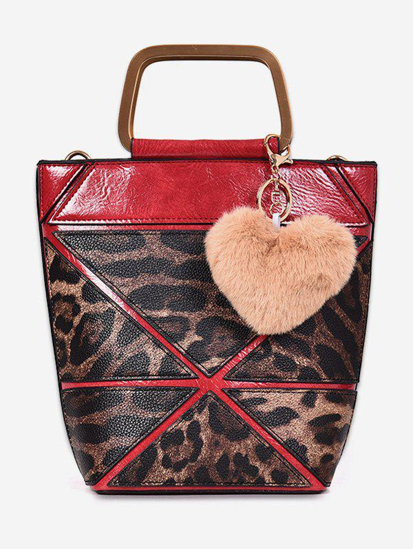 Sale Leopard  Fluffy Heart Decoration Tote Bag
