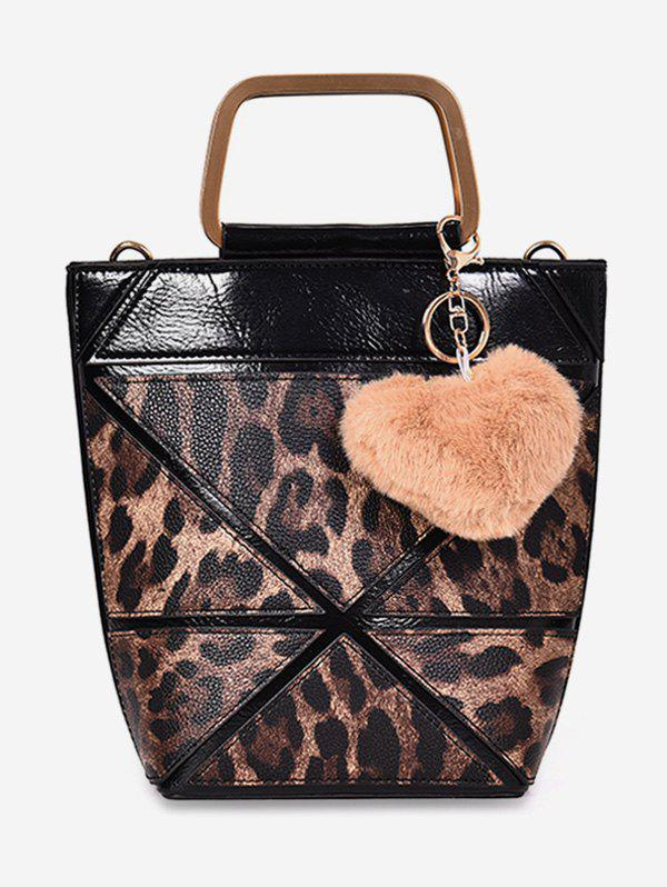Outfit Leopard  Fluffy Heart Decoration Tote Bag