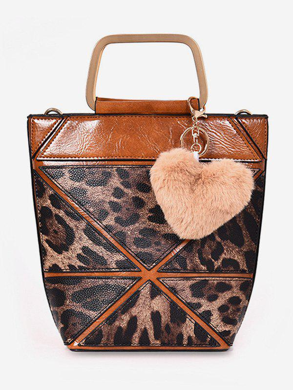 Chic Leopard  Fluffy Heart Decoration Tote Bag