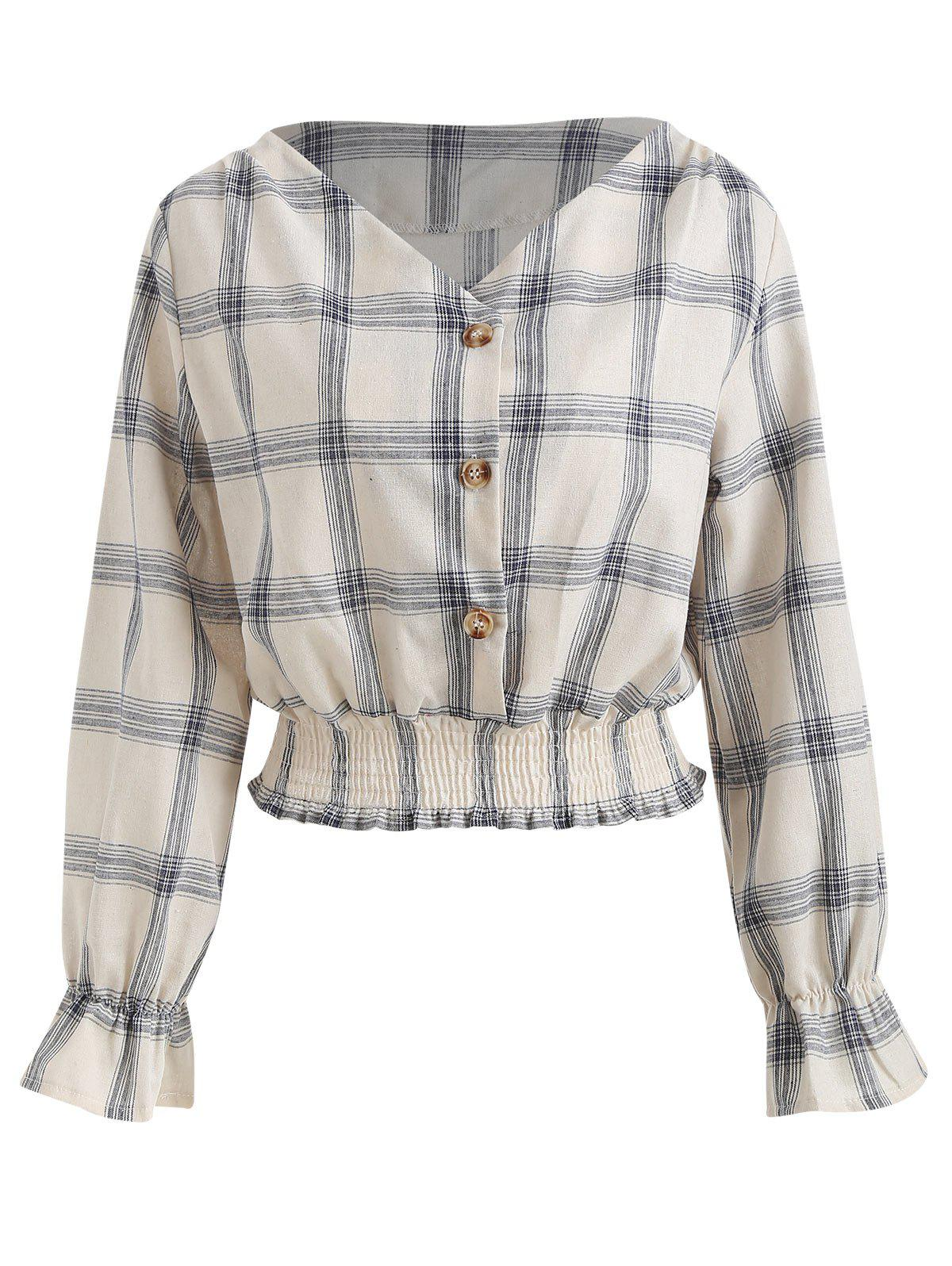 Best Flare Sleeve Plaid Print Shirt