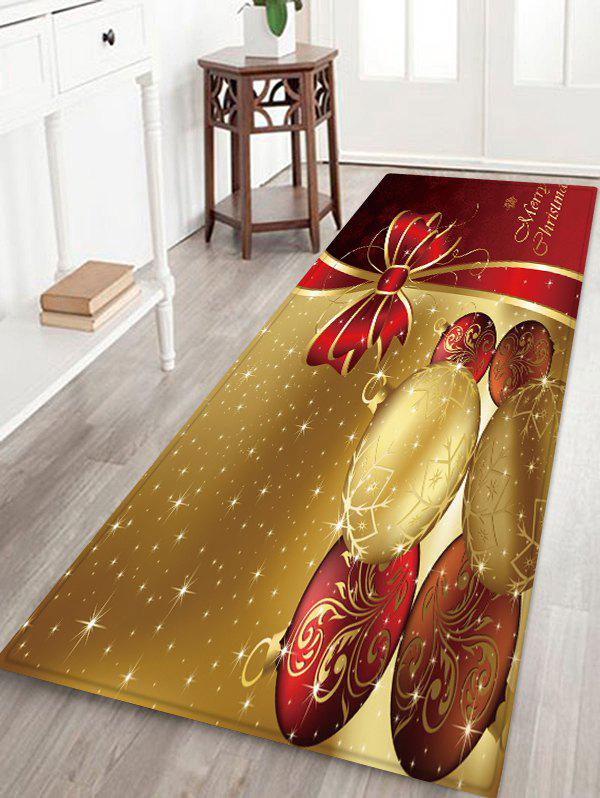 Online Christmas Balls Bowknot Pattern Water Absorption Area Rug