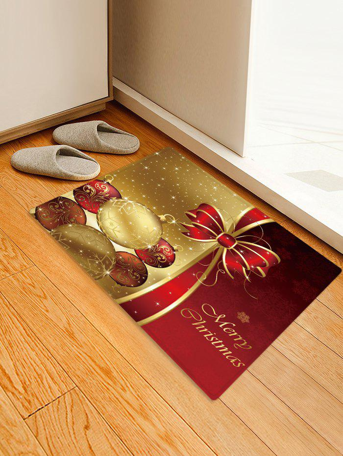 Sale Christmas Balls Bowknot Pattern Water Absorption Area Rug