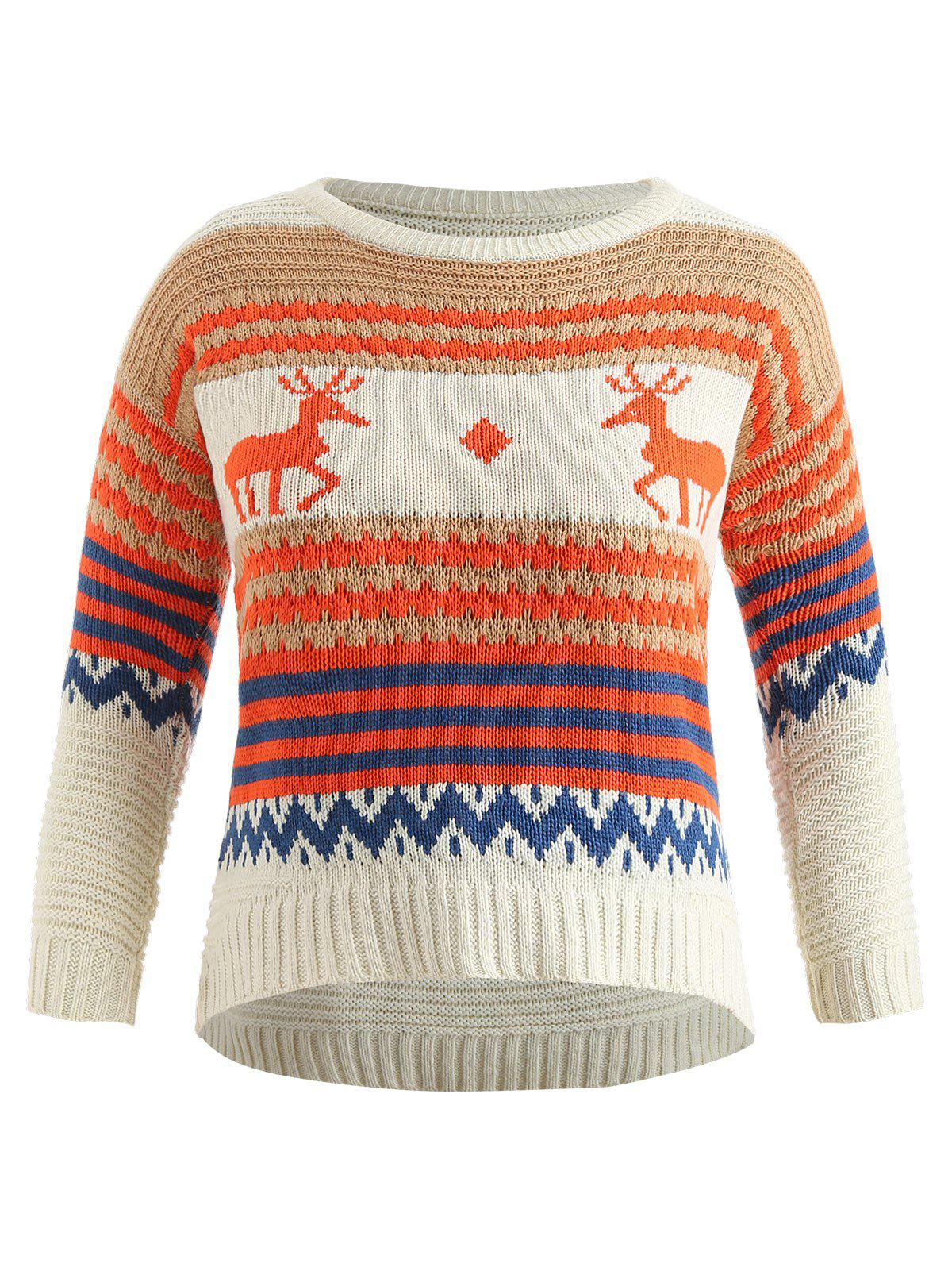 Best Drop Shoulder Plus Size Christmas Elk Print Sweater