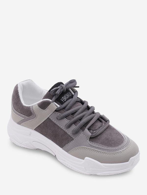 Fashion Contrast Lace Up Casual Sneakers