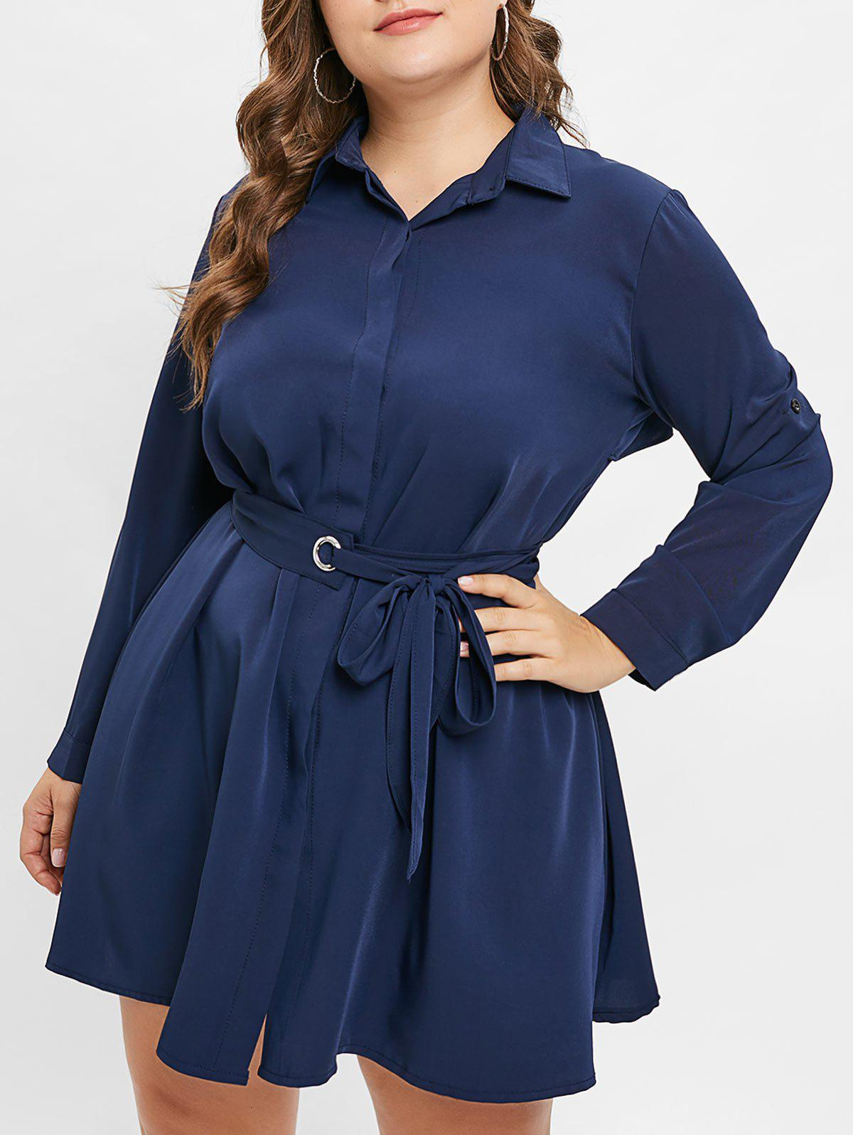 3949cbc4225 Outfit Plus Size Long Sleeves Button Up Shirt Dress