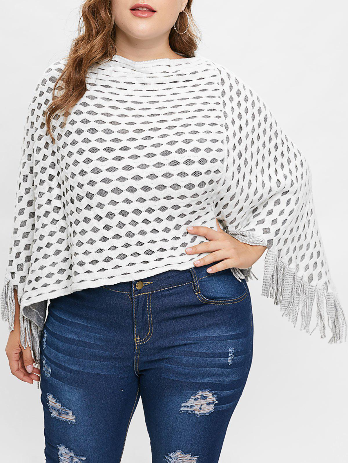 Unique Plus Size Contrast Sweater Cape with Fringed