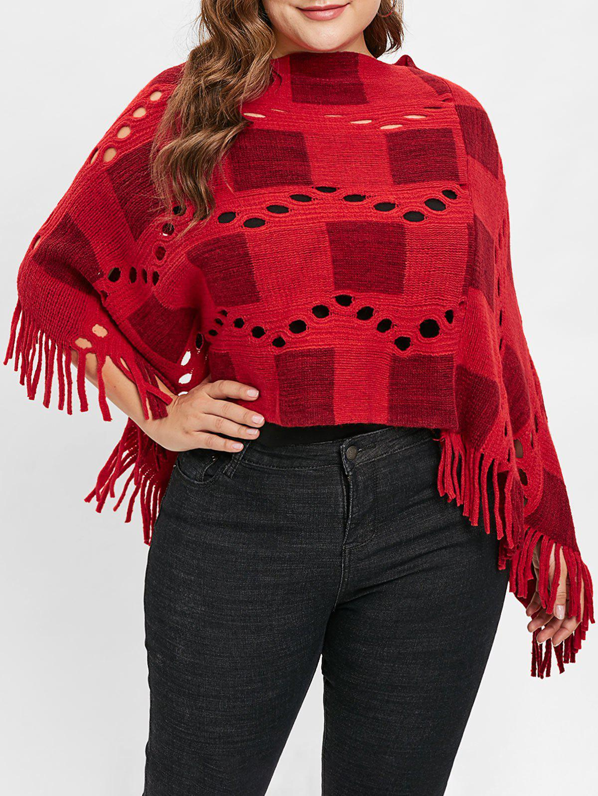 Online Plus Size Fringed Sweater Cape with Hollow Out