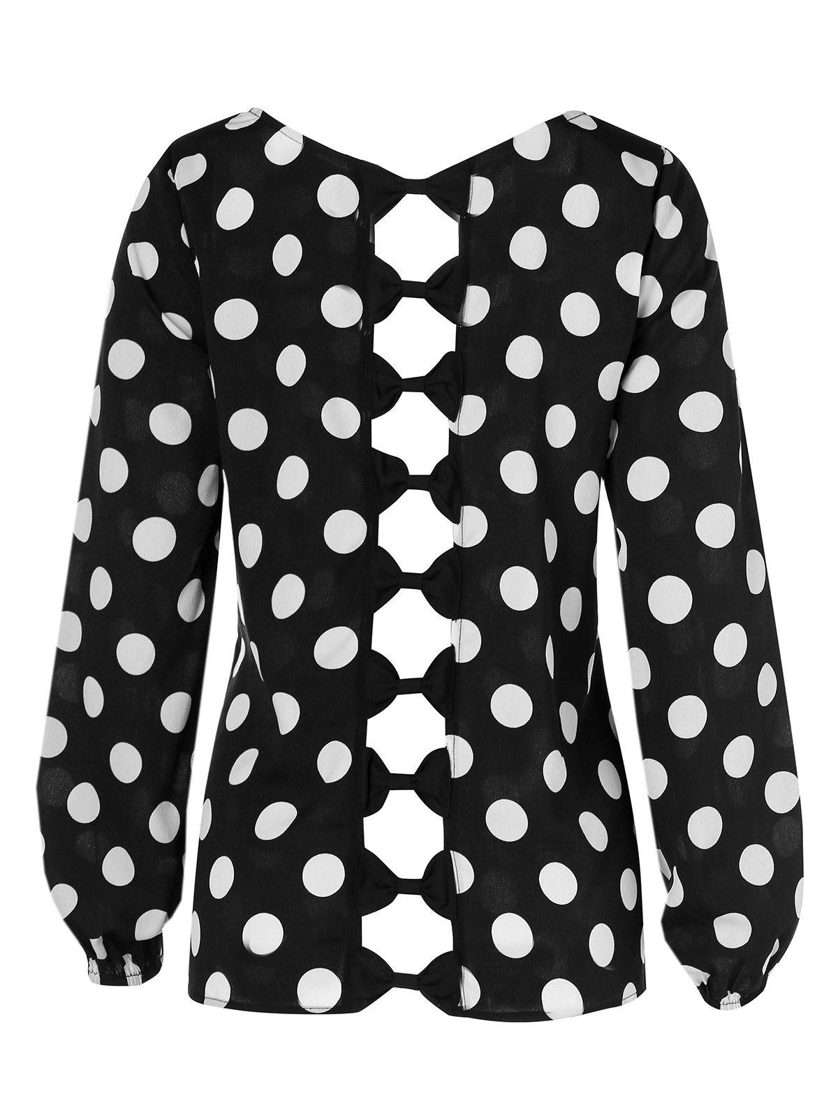 Chic Plus Size Bowknot Cut Out Dotted Blouse