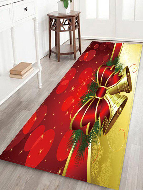 Chic Christmas Bowknot Bells Pattern Water Absorption Floor Rug