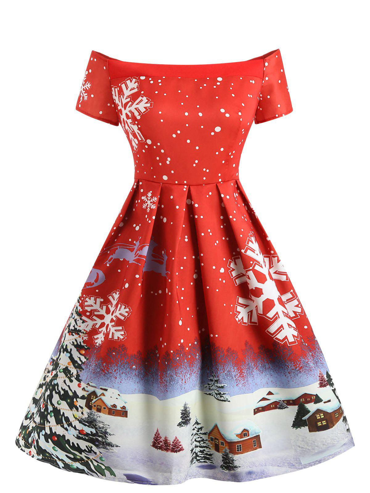 Affordable Christmas Snowflake Print Off The Shoulder Dress