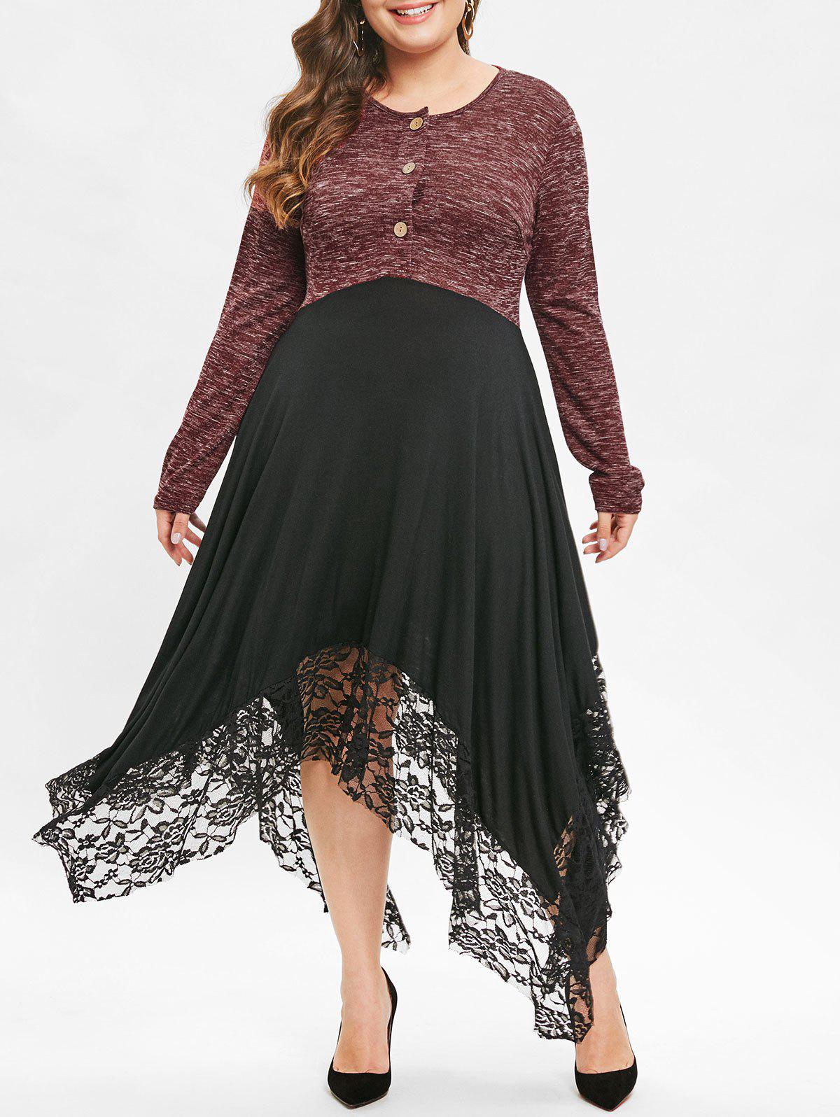 Outfits Plus Size Marled Long Handkerchief  T-Shirt