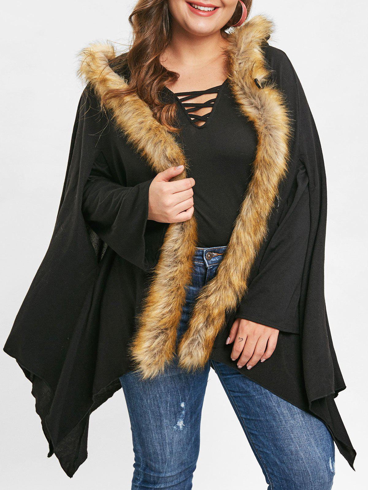 Fancy Plus Size Asymmetrical Faux Fur Coat