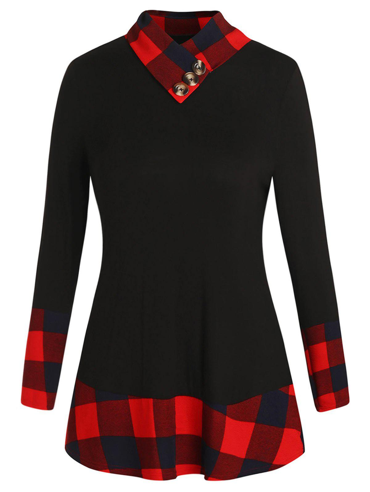 New Plus Size Plaid Panel T-shirt