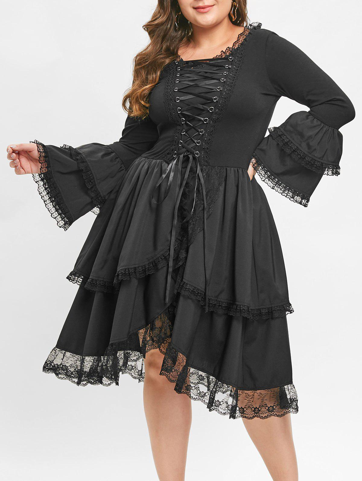 Unique Plus Size Criss Cross Bell Sleeve Layered Hem Vintage Dress