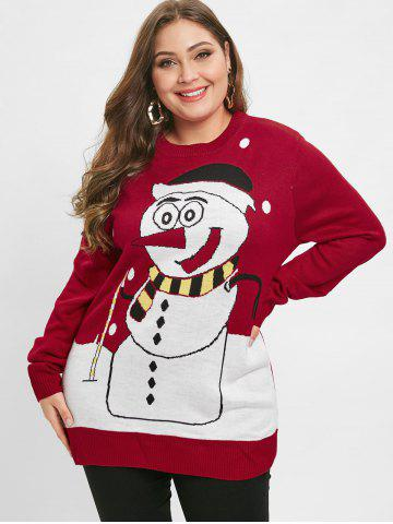 Christmas Plus Size Snowman Graphic Sweater