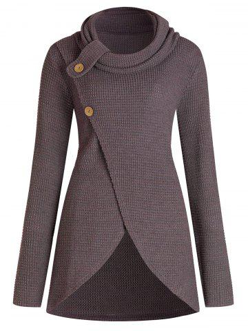 Cowl Neck Plus Size Front Slit Sweater - BROWN - 3X