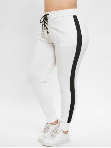 2d1d358a7f0 Plus Size Two Tone Pants with Lace Up