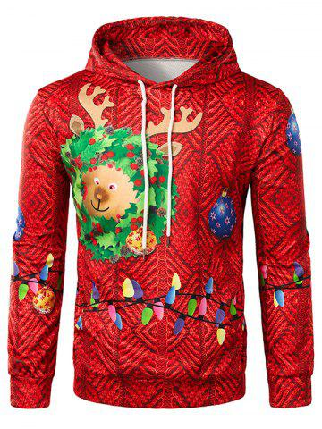 3D Christmas Light Printed Pullover Hoodie