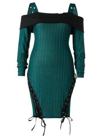Plus Size Cold Shoulder Lace Up Knitted Bodycon Dress