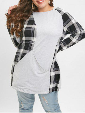 Plus Size Plaid Hooded Splicing T-shirt