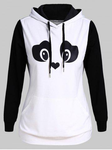 Plus Size Ear And Eye Panda Two Tone Pocket Kangaroo Hoodie