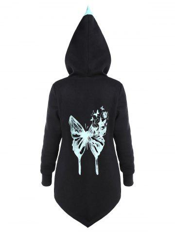 Colorblock Butterfly Print Asymmetric Hoodie - BLACK - 2XL
