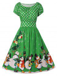 Christmas Plus Size Penguin Print Flare Dress -