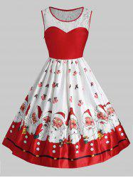 Plus Size Vintage Lace Panel Christmas Santa Claus Dress -