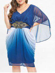 Belted Embellished Plus Size V Neck Knee Length Dress -