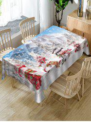 Snowmen and Snow Scenery Print Christmas Table Cloth -