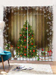 2 Panels Christmas Tree Wood Grain Print Window Curtains -