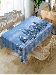 Snow Forest Scenery Print Christmas Table Cloth -