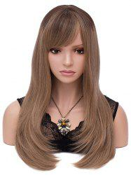 Long Colormix Oblique Bang Straight Synthetic Wig -