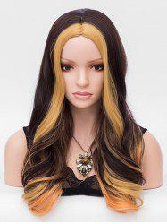 Synthetic Long Middle Part Colormix Wavy Wig -