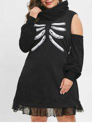Plus Size Skull Bone Halloween Dress -