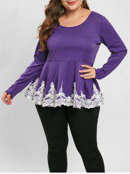 Plus Size Long Sleeve Lace Panel Peplum Top -