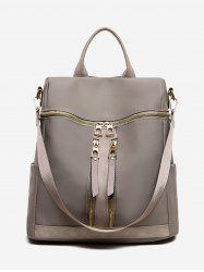 Solid Color Layered Zipper Backpack -