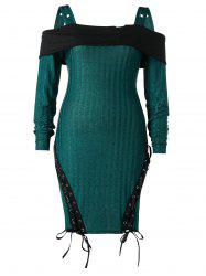 Plus Size Cold Shoulder Lace Up Knitted Bodycon Dress -