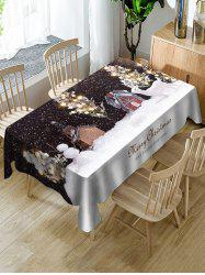 Christmas Night Snow Scenery Print Table Cloth -