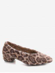 Pointed Toe Leopard Print Fuzzy Shoes -